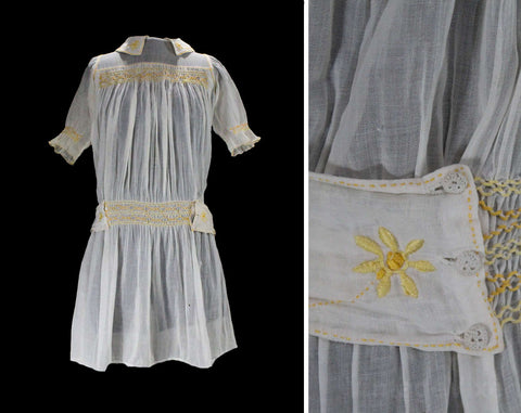 1920s Girl's Dress - Size 8 Child's Sheer White Cotton & Yellow Smocking with Daisy Embroidery - Authentic 20s 30s Girls Frock - Chest 32