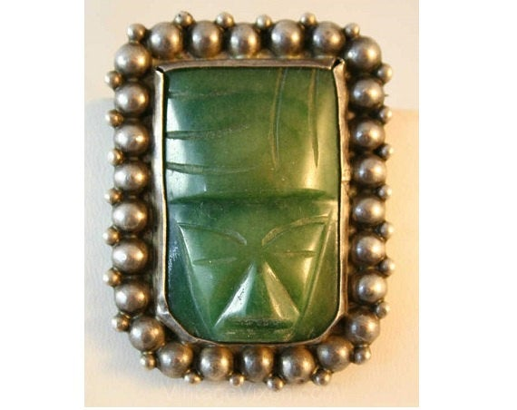 1940s Mexican Silver Jade Mask Pin - 40s Jewelry - Carved Green 1940's Brooch - Southwestern - Central American South America Mexico - 38450