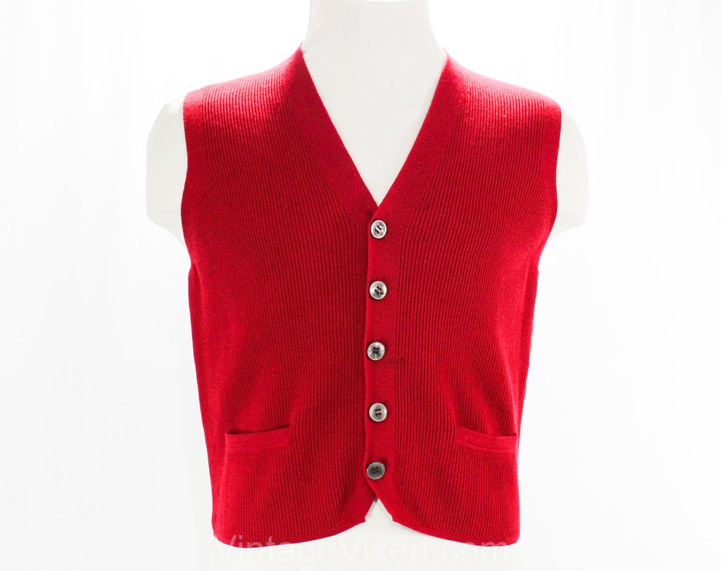Men's Small Sweater Vest - 1960s Sleeveless Mens Crimson Red Knit - Terrific 50s 60s Mod Italian Wool Knit - Bergdorf Goodman - Chest 37