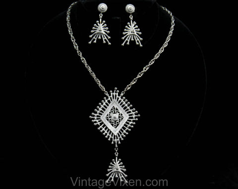 Hollycraft Atomic Necklace & Earrings Set - 50s 60s Mid Century Pendant Demi Parure - Silver Hue Metal - Space Age 1960s Bohemian Burst