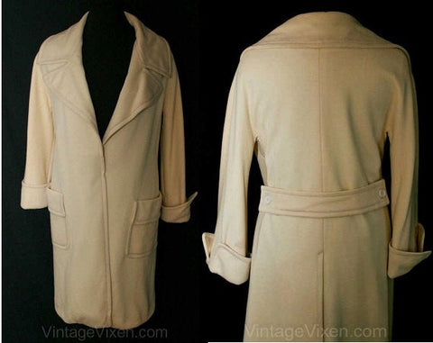 XL Overcoat - Classic 1970s Cream Wool Coat - Size 16 Chic Sophisticated Fall & Winter 70s Tailored Coat - Open Front - Bust 42 - 38053-1