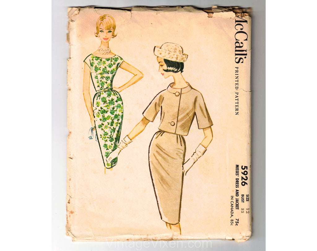 60s Sewing Pattern - Tailored Sleeveless Dress & Matching Jacket Suit Dated 1961 - Unused Complete Bust 32 McCall 5926 1960s Dressmaker