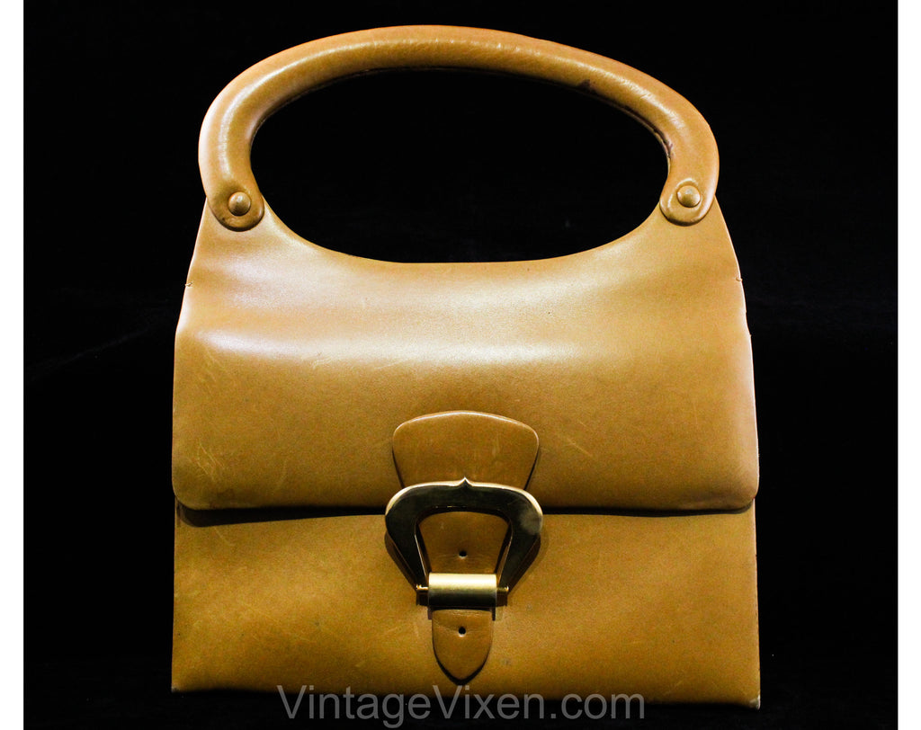 60s Haute Italian Mod Leather Handbag - Caramel Tan Purse with Modernist Brass Buckle - 1960s Brown Bag with Molded Handle - Made in Italy