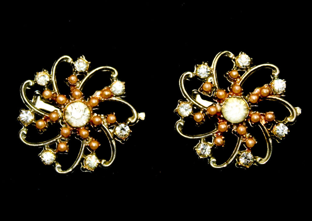 Pair Starburst 50s Brooches - Two 1950s Pinwheel Flower Pins - Preppy Style Jewelry - Silver Hue Metal with Rhinestones & Faux Pink Pearls