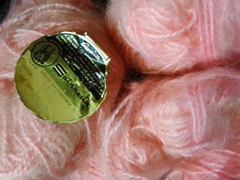 Pink Mohair Blend Yarn - Eight Skeins - Fluffy Hazy Lofty Pastel 1960s Mohair for Knitting Crochet Fiber Arts - Spinnerin Knitwear Yarn