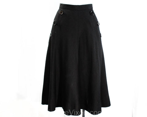 XS 1940s 50s Black Full Skirt - Flared Linen Look Rayon with Sailor Style Button Pockets - Terrific 1950s Swing Style - Size 0 - Waist 23