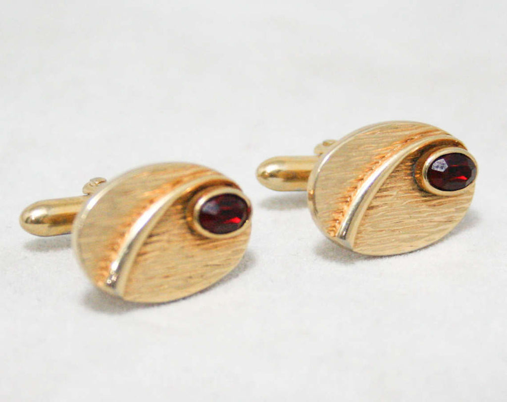 MCM 1950s Deco Cufflinks - Men's Cuff Links - 50s 60s - Goldtone Metal & Red Stones - Mens Jewelry by Swank - For French Cuffs - Mid Century