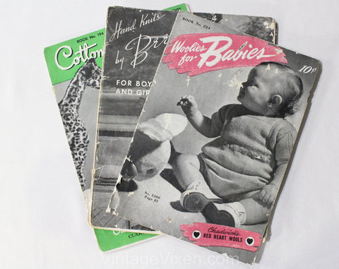 Lot of 3 1930s 40s Crochet & Knit Children and Baby Patterns - Cotton Babies Jumper - Boys and Girls Sweaters - Wool and Cotton Knitting
