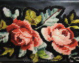 1950s Black Leather Purse with Needlepoint Roses - 50s Handbag with Antique Inspired Applique - Mid Century Feminine Bag - 50241