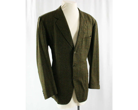 Soft as Cashmere Men's Suit Jacket - 1960s - Mens Size Large - Italian by Randazzo - 60s Pebbled Wool - 3-Button - Chest 47 - 42335