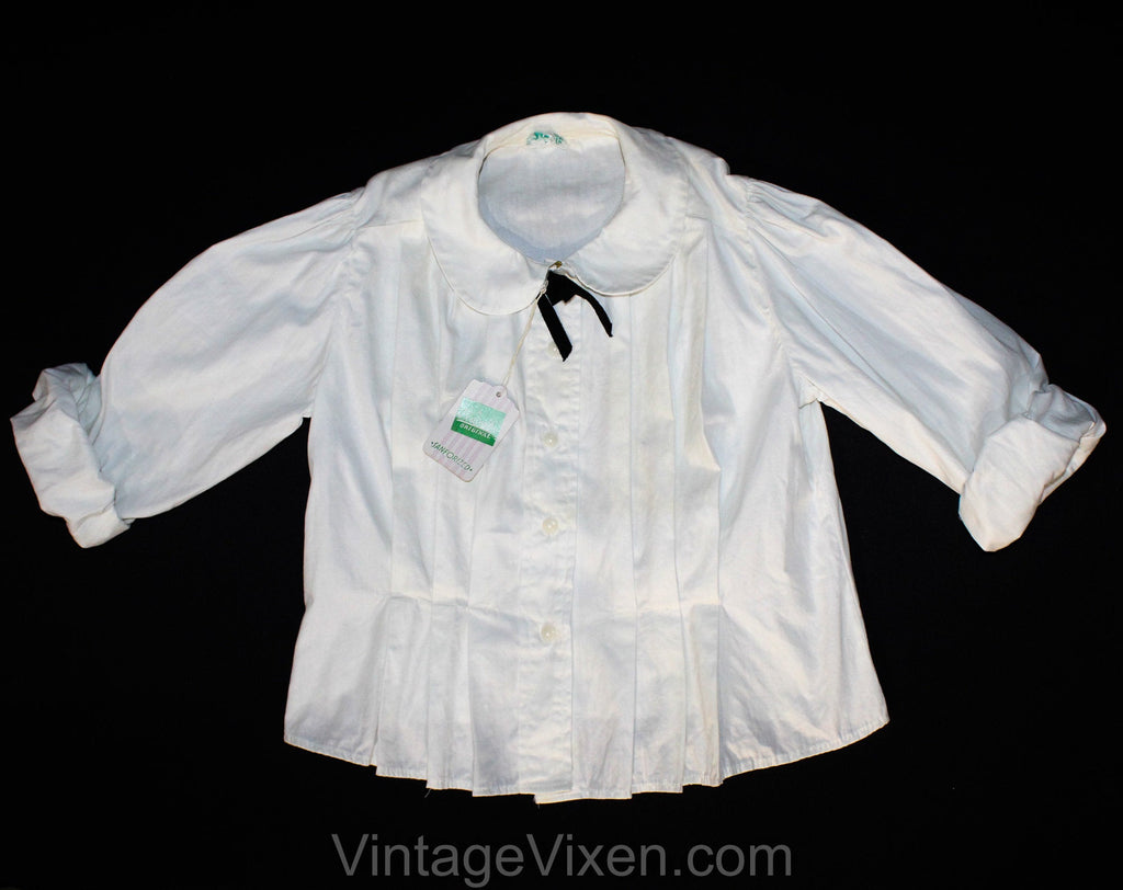 Child's 1950s White Cotton Blouse with Edwardian Appeal - Size 8 10 Girls Dress Shirt - Button Front Cotton - 50s NWT Deadstock - Bust 29.5