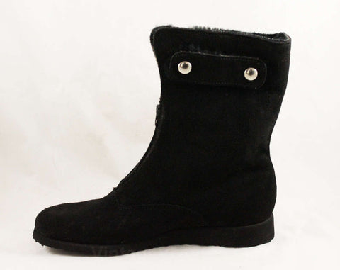 Size 8 Black Suede Ankle Boots - 1960s Hipster Winter Shoes - Convertible Tops - Cuff Up or Folded Down - Fleecy Lining - 8N - NOS Deadstock