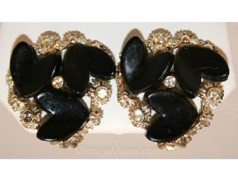 Cute 1950s Black Hearts Thermoset Earrings - 50s Plastic - Darling Round Clip Earrings - Rockabilly Sweet 50's - BSK - Clip On - 32204-1