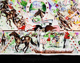 Horse Racing Silk Scarf - Bianchini Ferier Paris - Rare Design for George V Hotel - Jockey's Colors Eiffel Tower - High Stakes At The Races