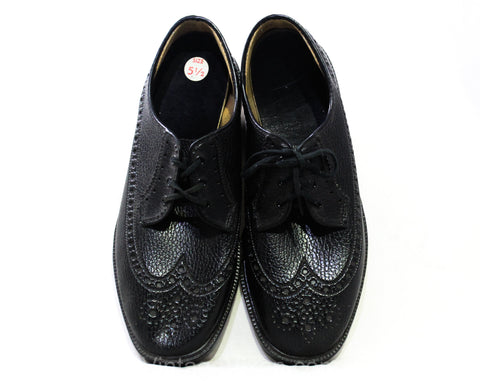 Size 5.5 Men's Oxford Wingtip Dress Shoes - Authentic 1960s Black Faux Leather with Lace Up - Mens Size 5 1/2 - Never Worn 60s Deadstock