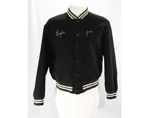 Men's Large Letter Jacket - Drum & Bugle Corps - 1950s Kenosha Kingsmen Athletic Sports Jacket - Black Wool with Chain Stitching - Chest 46