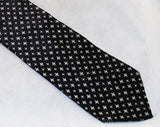 Men's 50s Skinny Tie - Starlight Black Silk Satin Brocade - 1950s Cocktail Lounge Singer Necktie with White Diamond Starburst - Rat Pack Era