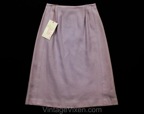 XXS 60s Lavender Skirt - Lilac Pastel Purple Wool - Classic 1960s Office Secretary - Size 00 Tailored A-Line - Waist 22.5 - NWT Deadstock