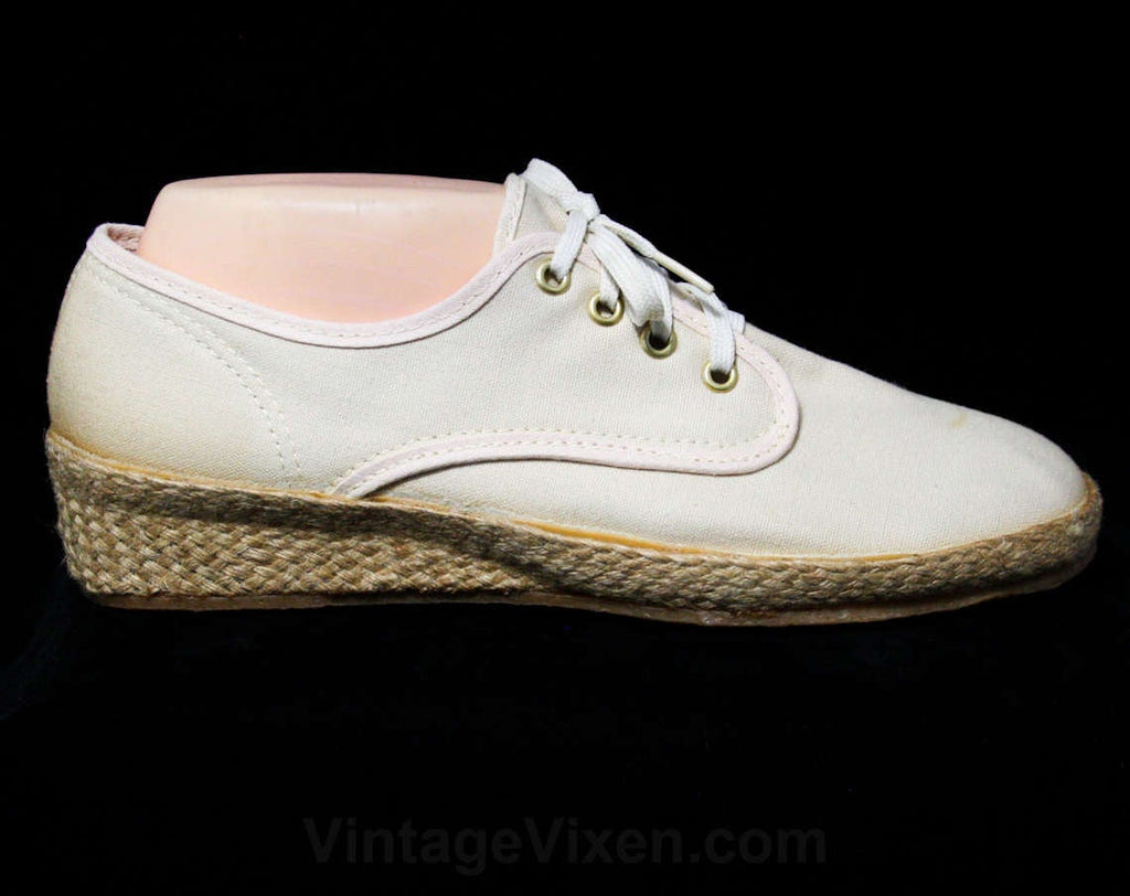 Size 10 Beige Keds Sneakers - Classic Casual Shoes - 80s Neutral Sneaker with Woven Jute Heel - Grasshoppers by Ked's - Deadstock - 10M