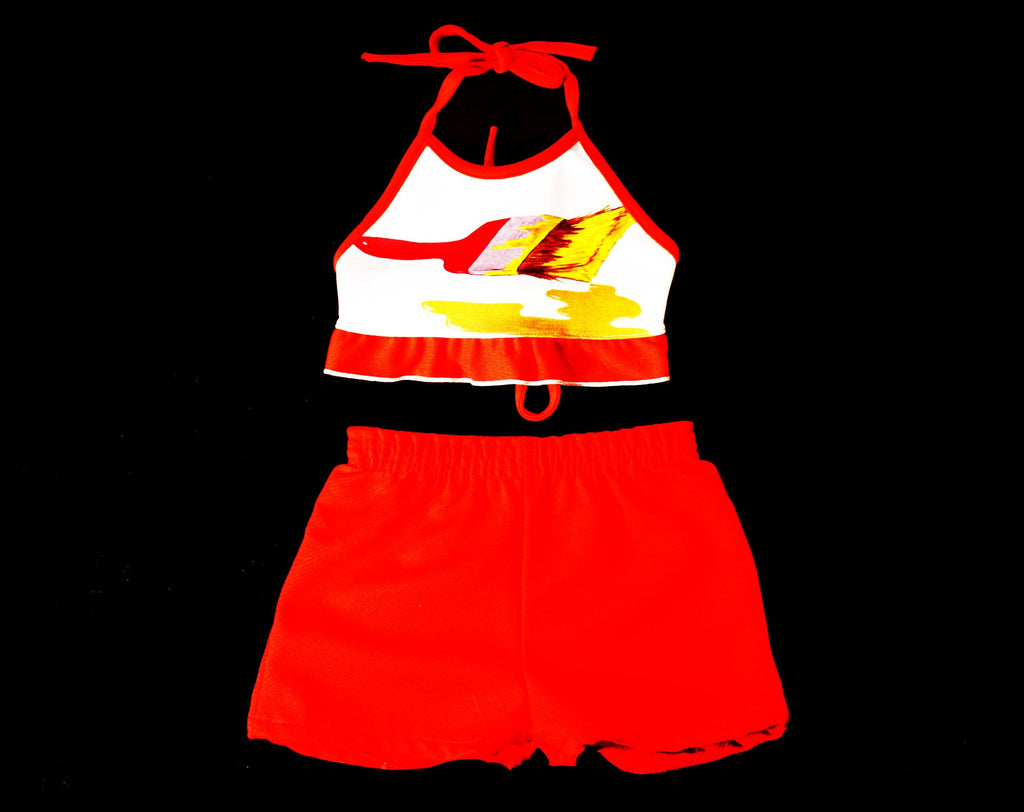 1970s Girl's Halter Top & Shorts Set - Size 4T Childs Casual Summer Play Outfit - 2 Pc Crop Top - Paintbrush Novelty Print - 70s Deadstock