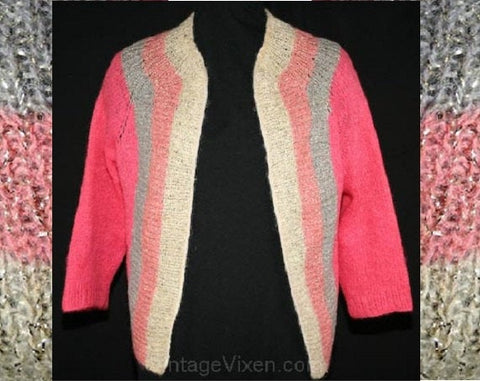 Small 1950s Cardigan - Glam 50s Shocking Pink & Gray Mohair Sweater - Size 4 Open Front Metallic Knit - Vintage Vixen - Bust 34 - 33387