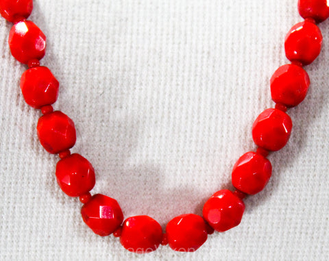 Red 1930s Glass Necklace - Flapper Era 20s 30s Cherry Primary Red Faceted Beads - Hand Strung Beautiful Single Strand - Matching Clasp