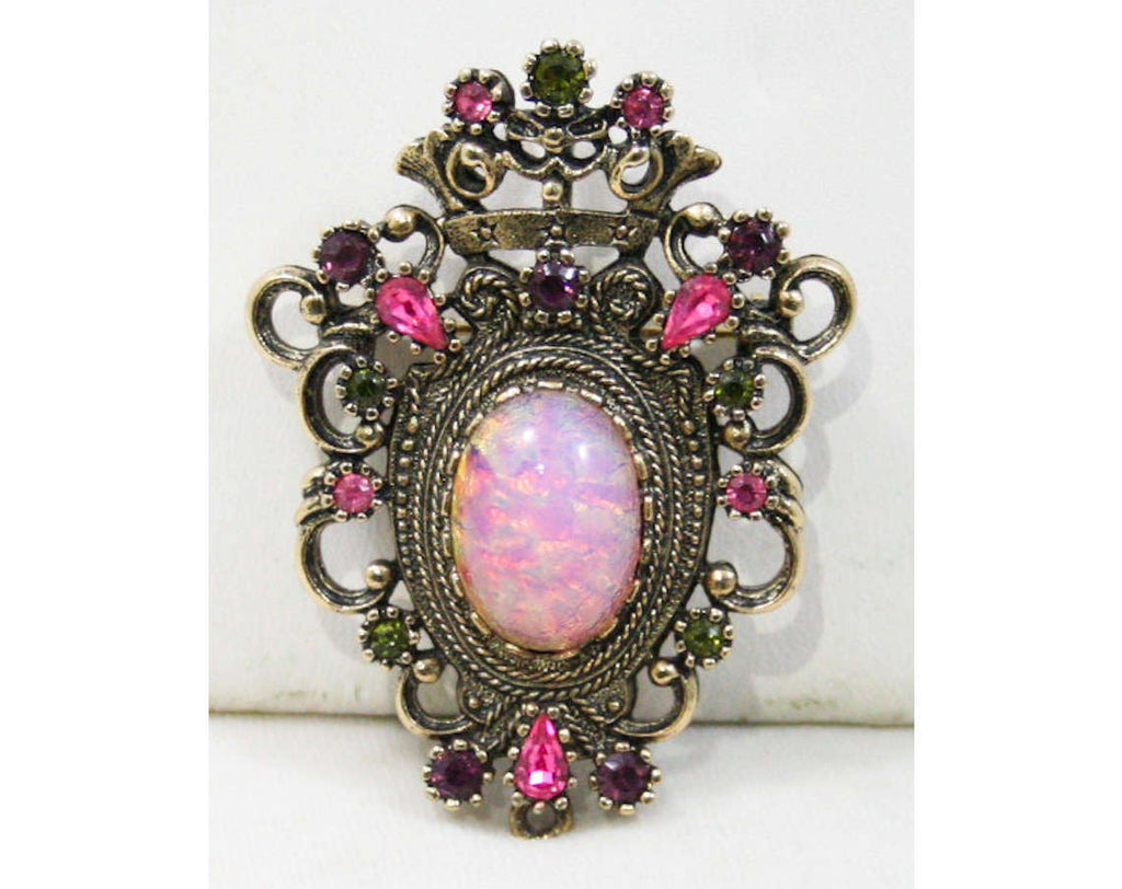 Regal Princess Brooch - Easter Egg Cabochon - Sarah Coventry - 1960s - Pink & Purple - Crest - Rhinestones - Converts to Pendant - 42600