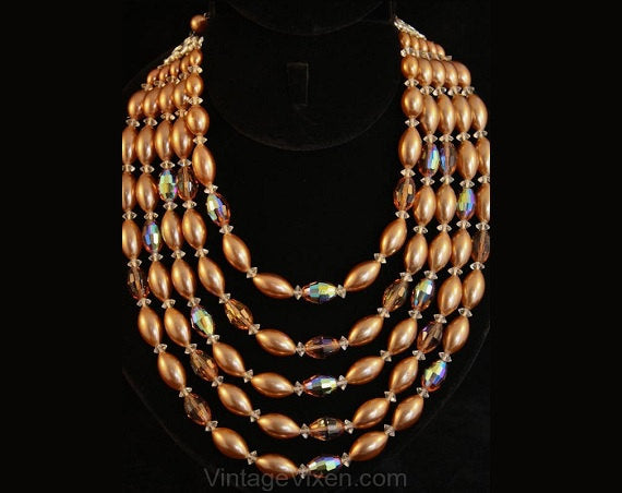Dramatic 1950s Mocha Glass & Pearls Five-Strand Necklace - Cocoa Brown Pearlized Beads - Multi Strand 50s 60s Necklace - 35562-1