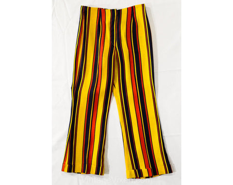 Child's Size 7 1960s Pants - Girls Mod Circus Stripes Wide Leg Trousers - Yellow Red Navy Blue 60s Children's Bell Bottoms - Waist 22