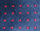 1970s Navy & Red Tie by Oleg Cassini - Dark Blue Men's Necktie - Diagonal Polka Dot Polyester Brocade - 70s Designer Men's Business Wear