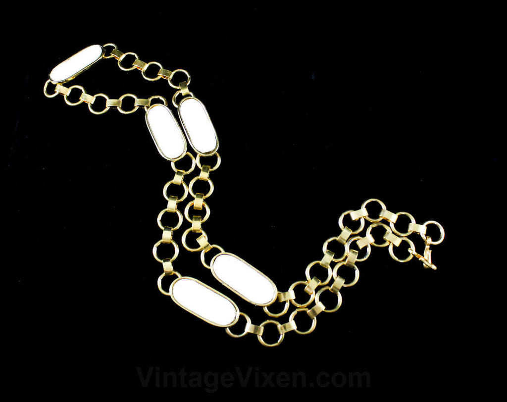 Posh White Gold Chain Belt - Size XS Small Medium - Deadstock Metal Chainlink Belt - 1960s 70s 80s NOS - Striking Chic Spring Summer Links