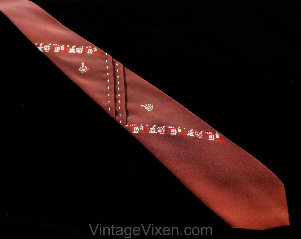 1940s Men's Tie - 30s 40s Novelty Barber Shop Print with Pleated Detail - Cocoa Brown Mint Green Red Crepe Mens Necktie - As Is Faded