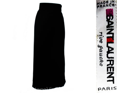 Size 10 Black Velvet Skirt - YSL Designer Formal Ankle Length - Winter Yves St Laurent Rive Gauche France - Medium - Waist 29 - Beautiful!