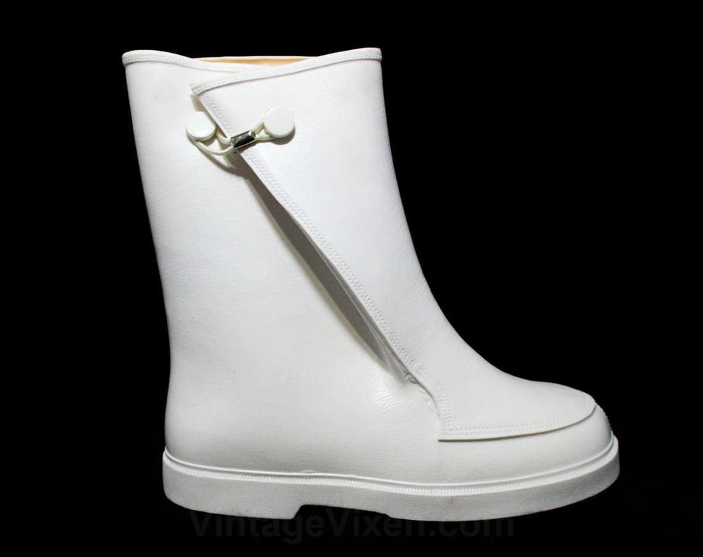 Child Size 10 White Galoshes - Authentic 1960s Child's Keds Rain Boots - Waterproof Rubber Overshoe - 60s Mid Century Deadstock - Rainy Days