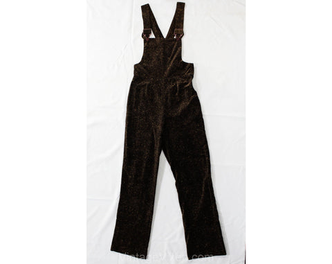 Size 6 Velveteen Overalls - Plush Brown Trompe L'Oeil Tweed Print 1970s Velvety Pants with Bib Front & Straps - 70s Juniors - Waist 26