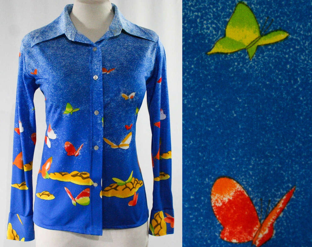 Size 10 Butterflies Print 1970s Shirt - Medium - Long Sleeved 70s Casual Top - Butterfly - Vivid Bright Blue Novelty Print - NOS Deadstock