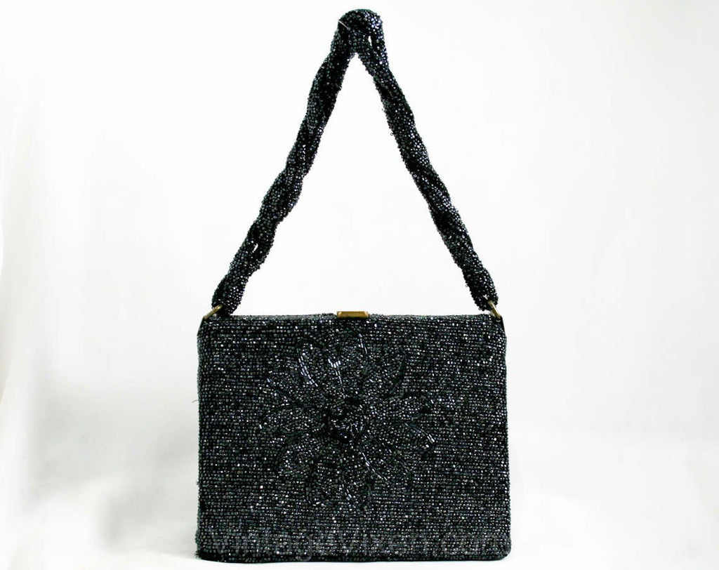 40s Beaded Box Bag - Daisy Motif Formal Purse - Midnight Silver Gray Glass Beads - Swing Style 41381