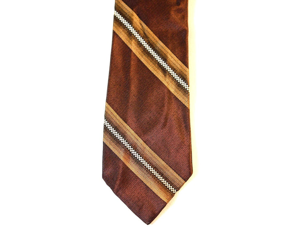 50s Men's Tie - 1950s Chestnut Brown Striped Silk Sharkskin Skinny Tie - 1950s Mens - Made in Italy - Fifth Avenue New York Label - 37160
