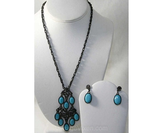 Bohemian 1970s Pewter Turquoise Blue Necklace & Earrings - Fall 70s Boho Demi Parure - Striking Southwest Tribal Abstract Metalwork - 38501