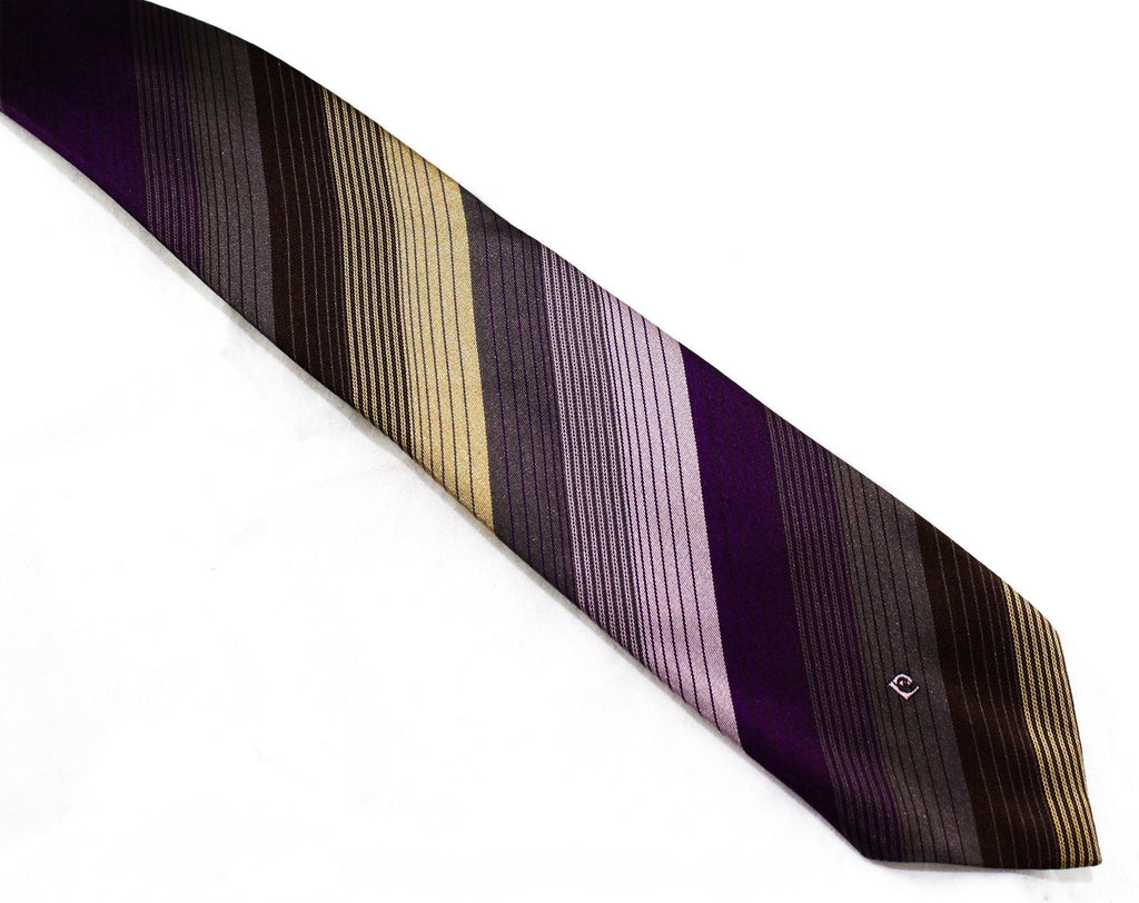 Pierre Cardin Men's Tie - Striped Purple Tan & Brown Necktie - 1970s Designer Neckwear - 60s 70s Woven Stripes - Aubergine Eggplant Hue