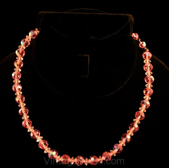 1950s Pink Cut Crystal Necklace - Glass Beaded 1950's Single Strand Evening Necklace by Laguna - 50s Debutante - Cocktail Hour - 33958