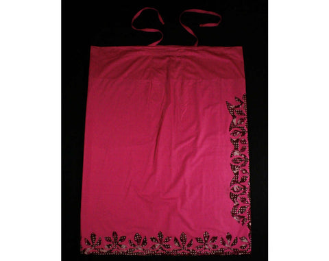 XL Sarong Style Fabric - Polynesian Chic - Fuchsia Pink Cotton with Halter Style Ties - Like A Sun Dress - Hand Sewn Appliques -