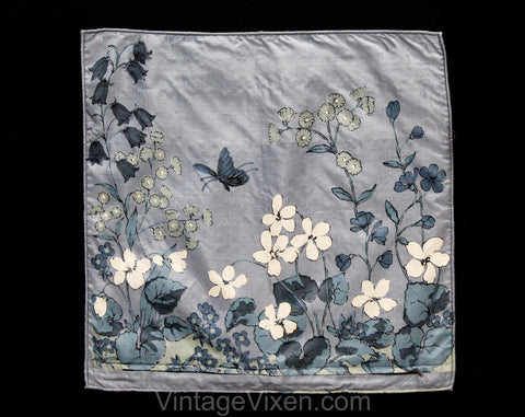Asian Silk Pillow Case - 70s Butterfly Meadow Novelty Print - Botanical Blue Gray White Flowers - Square 16 Inch Decorator Pillowcase Cover