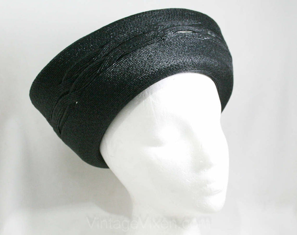 Audrey Style Hat - 1960s Black Straw Breton - Bold Upturned Brim - 60s Fine Millinery - Otto Lucas Junior - Made in Italy - 41340-1