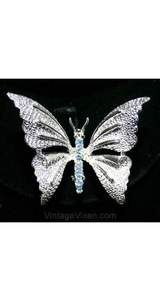 Ice Blue & Silver Butterfly 1950s Pin - Novelty Insect Brooch - Faux Silvertone Metal - Gerry's - Spring - Summer - Elegant 50s - 38462
