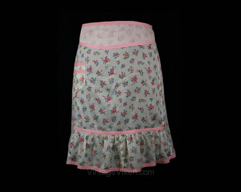 Charming 1930s Pink Floral Print Organdy Apron - Small Medium Apron - Size 6 to 10 - Feminine - Cute Sheer Cotton - Waist 26 to 28 - 30494-1
