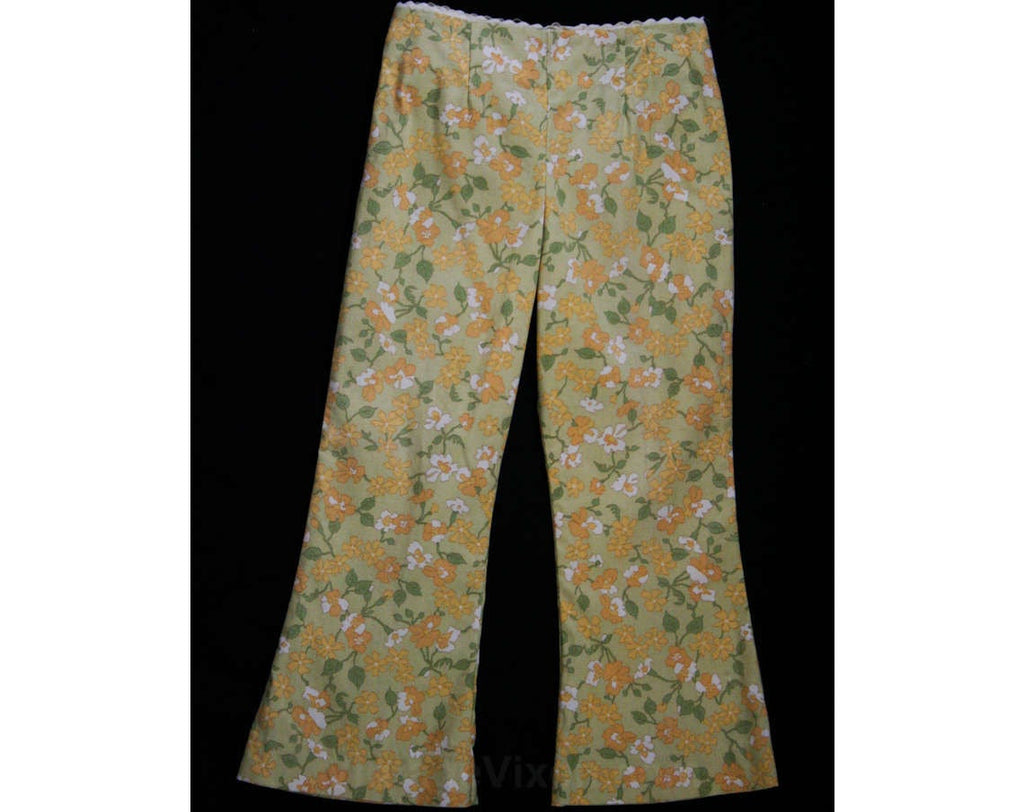 Girl's Size 6 Bellbottoms - 60s Girls Hippie Chic Pant - Spring - Summer - Peach & Khaki Floral Bell Bottom Trouser - 1960s Deadstock NWT