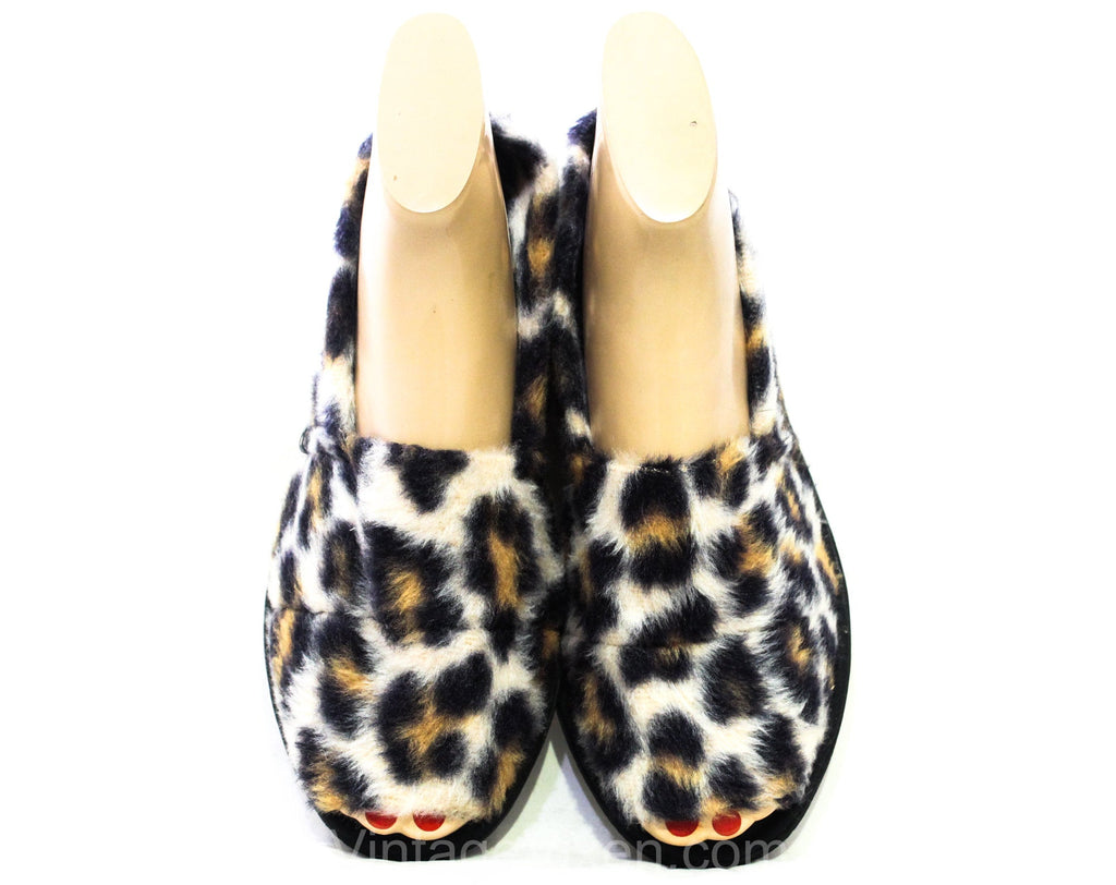 Faux Leopard Fur Slippers - Size 7 to 8 1960s Vintage Lounge House Shoes - Spotted Exotic Cat Furry Acrylic Indoor Slides - 60s Open Toes