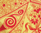 Designer Giorgio di Sant Angelo Silk Scarf - Orange & Yellow 1960s 70s Psychedelic Print - Bold Paisleys and Swirls - Hand Rolled Hems