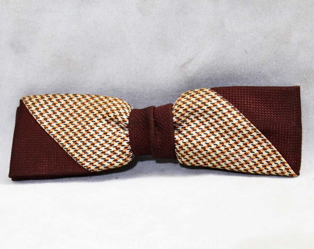 1940s 50s Men's Bow Tie - Dark Brown Deco Striped Bowtie - Mens Houndstooth Brocade Bowtie - Diagonal Orange Black Mid Century Clip On Tie